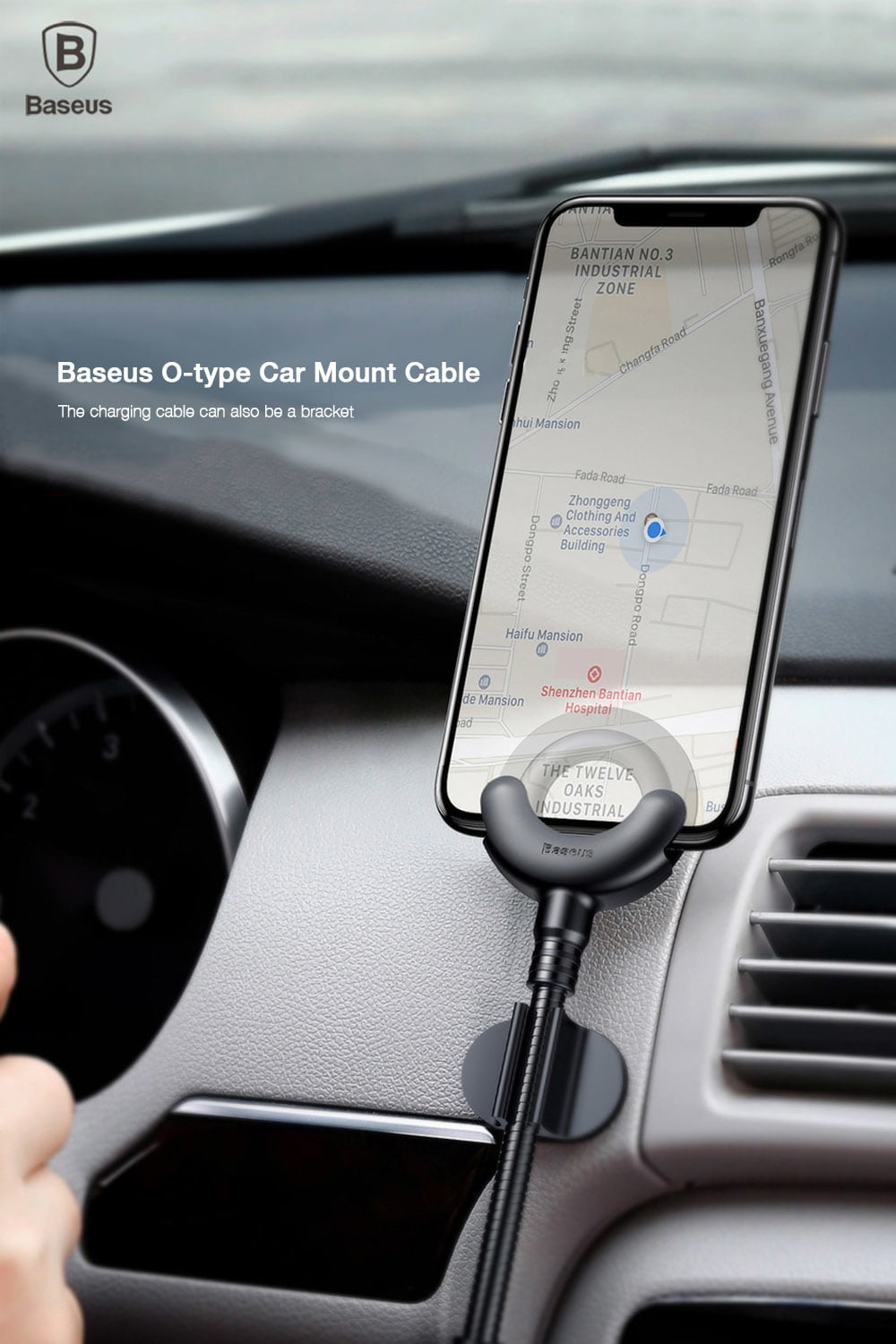 iphone car mount baseus type car mount cable holder اپل خلیج فارس 11699